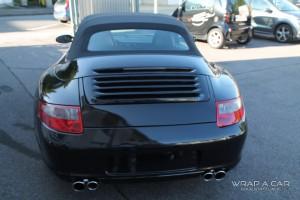 Folierte Heckansicht des Porsche 997