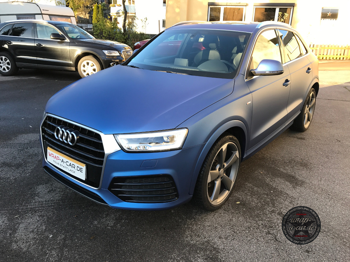 Audi Q 3 Folierung in blau matt - wrap-a-car