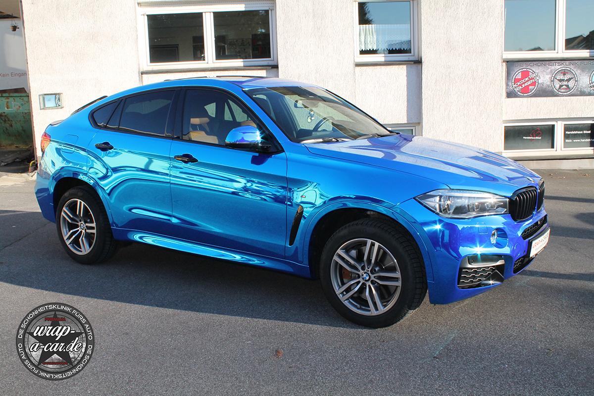 Bmw X6 Chrom Blau Autofolierung Nrw