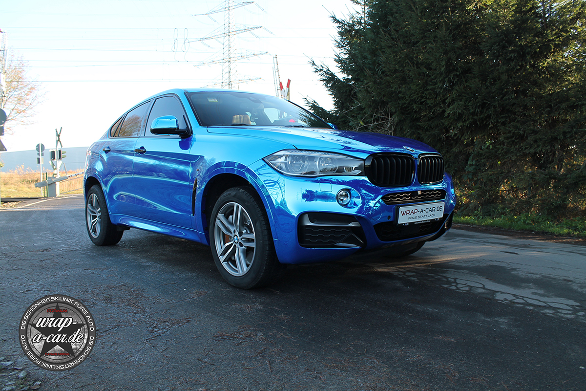 bmw x6 folierung in chrom blau by wrap a. Black Bedroom Furniture Sets. Home Design Ideas